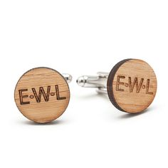 Monogrammed Wood Cufflinks with Three Initials