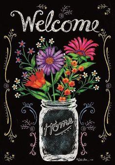 Custom Decor Flag - Wildflower Jar Decorative Flag at Garden House Flags. Like the chalkboard look Blackboard Art, Chalkboard Writing, Chalkboard Drawings, Chalkboard Lettering, Chalkboard Designs, Chalkboard Ideas, Summer Chalkboard Art, Chalkboard Art Kitchen, Black Chalkboard