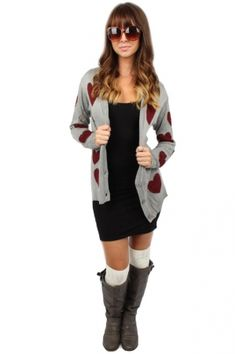 Grey & burgundy heart cardigan. I need some cute cardigans for the fall of my bank account. Oh, you thought I was going to talk about the season. No.
