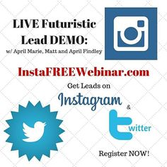 """Click the link in my bio or register here http://ift.tt/1h9Mt5v <== Tonight ONLY! Learn BRAND NEW futuristic Instagram and Twitter marketing tricks for 2016!  Join April Marie The """"Instagram Queen"""" Tucker Matt and April """"The Twitter King and Queen"""" Findley live tonight for a live demo of how we get 20 FREE leads per day on Twitter and Instagram... Look over our shoulders while we show you new IG and Twitter tricks that are so futuristic they shouldn't be shared til next year."""