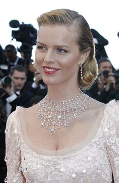 Chopard. Snowflake inspired.  Marilyn Monroe tribute necklace from the Red Carpet collection, adorned with heard shaped diamonds and set in white gold, with matching earrings worn by Eva Herzigova at Cannes Film Festival in 2004.