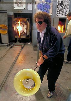 The artist Dale Chihuly blowing glass in his studio. I would love to blow glass.
