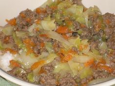 Ground Beef with Cabbage from Food.com: This dish is easy to prepare, even kids like it. It's a family favourite since a long time.My aunt in Germany created it a long time ago.
