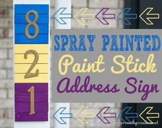 DIY Outdoor Projects | Add some curb appeal to your home with an address sign made with paint sticks and Krylon spray paint!:
