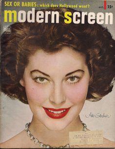 Ava Gardner for Modern Screen, October 1950 Old Hollywood Stars, Vintage Hollywood, Classic Hollywood, Hollywood Icons, Betty Buckley, Brad Davis, Aidan Quinn, Daryl Hannah, David Lee Roth