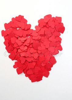100 Mini Red Heart Confetti Die Cut Confetti by SammysCraftShop, $2.00