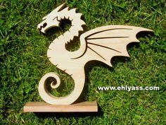 Sculpture en bois massif Dragon 3 en chantournage : Sculptures, gravures, statues par yann-chantournage