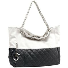 MG Collection CAMRYN Quilted Oversized Hobo Handbag w/ Shoulder Chain Straps