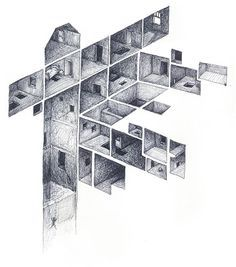 Section Drawing- Ballpoint Drawing 2002 / Mathew Borrett Op Art, Illustration Art, Illustrations, Perspective Drawing, 3d Drawings, Detailed Drawings, Architecture Drawings, Art Graphique, Geometric Art