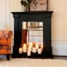 homemade faux fireplace