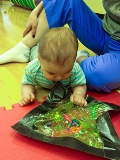 INFANT DROP OFF ACTIVITY. CD The young infant attends to colors, shapes, patterns or pictures. The infant can explore with any sensory bag and see what is inside. Sensory Bags, Baby Sensory, Sensory Activities, Infant Activities, Activities For Kids, Infant Sensory, Sensory Play, Sensory Bottles, Activity Ideas