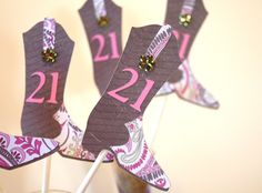 Brown Cowgirl Boot 21st Birthday  Cup Cake Topper by ThePaperLot, $18.00