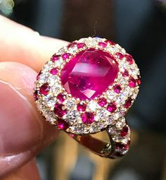 A very rare #gem quality 4.49 ct unheated #Burmese #ruby ring Set in a hand made pave #diamond and ruby setting