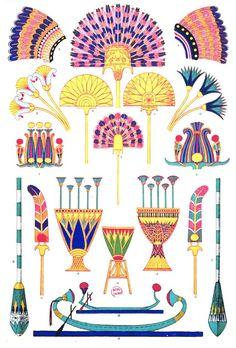 """De sceptres, des palmes, des emblèmes de la royauté et du pouvoir égyptien à retrouver dans """"Grammaire de l'#ornement illustrée d'exemples pris de divers styles d'ornement"""" de Jones Owen pour tout savoir sur les différents styles décoratifs selon les époques et les civilisations #couleur #color #numelyo #artgraphique #Egypte"""
