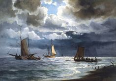 Ioannis Altamouras 'Jean Altamura' Sailing Along The Coast, Skagen by cm) Sky Painting, Chiaroscuro, Skagen, Illustrations, Impressionism, Sailing Ships, 19th Century, Past, Auction