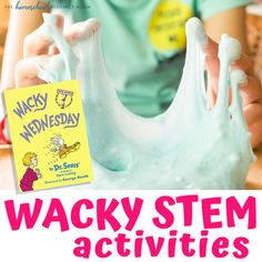 Wacky Wednesday STEM Activities, 20 simple, low prep Wacky Wednesday ideas to help create a memorable and wacky day for your kids! Find Wacky Wednesday STEM activities, wacky crafts, and wacky surprises! Dr. Seuss, Dr Seuss Week, Dr Seuss Activities, Kindergarten Activities, Science Activities, Wacky Wednesday, Math Challenge, Chemistry Experiments, School Routines