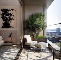Urban Garden | Planting trough w/ tree on city view balcony