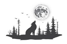 lonely wolf howling at the moon Howling Wolf Tattoo, Wolf Howling At Moon, Wolf Moon, Forest Forearm Tattoo, Forest Tattoos, Coyote Tattoo, Symbol Tattoos With Meaning, Tattoo P, Wolf Sleeve