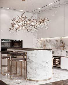 Kitchen Room Design, Luxury Kitchen Design, Home Room Design, Home Decor Kitchen, Kitchen Interior, Home Interior Design, Interior Decorating, House Design, Elegant Kitchens