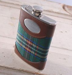 Green Plaid Flask Personalized $31.99