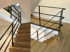 Ruimtelijk en strak. Mooi in lijn met zwarte kozijnen. Balustrades, Banisters, Stair Railing, Escalier Design, Interior Stairs, Industrial Farmhouse, Home Projects, Living Room Designs, Sweet Home