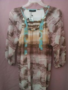 HARVEST Women's multi-colored blouse with necklace. 100% Viscose NWT