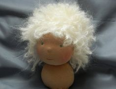 Waldorf doll cap/wig DollyMo wool undyed by LittleOkeDolls on Etsy