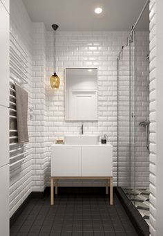 Scandinavian Bathroom Design and Decor Ideas - Bathroom - Bathroom Decor Small Bathroom Tiles, Bathroom Flooring, Bathroom Storage, Bathroom Wall, Small Bathtub, Small Sink, Bathroom Black, Bathroom Styling, Kitchen Tiles