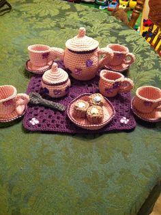 Handmade Crochet Butterfly Tea Set by LuvKnotz on Etsy, $40.00