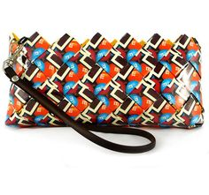 m wrapper purse-click on the purse to get to the website, really cool stuff from recycled candy/chip wrappers.....