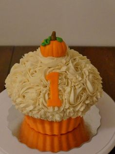 Pumpkin 1st  birthday Smash cake