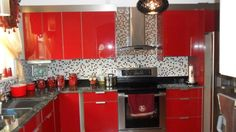 "Bright Red Kitchen from Rate My Remodel user ""Pichardo Group"" Decor, House Design, Remodel, Red Appliances, Kitchen, Home Decor, Red Kitchen, Kitchen Cabinets, Cabinetry"
