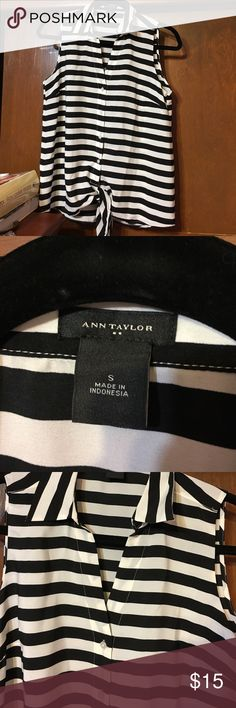 Sleeveless striped shirt NEVER WORN. Ann Taylor, 100% polyester. Sleeveless button up. Selling because it's just not my style. Perfect for everyday or work. Ann Taylor Tops Button Down Shirts