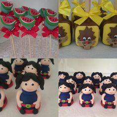 Brigadeiros no palito, pães de mel e trufas modeladas para o tema Show da Luna. #benditosbrigadeiros ...