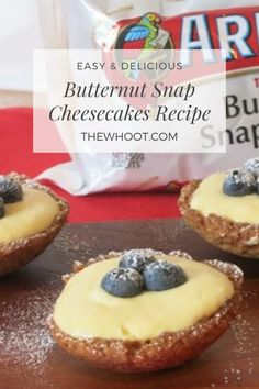 These Butternut Snap Cheesecakes are surprisingly simple to whip up and taste incredible! A classic cookie crust with delicious lemon curd filling. Cheesecake Recipes, Dessert Recipes, Healthy Cheesecake, Homemade Cheesecake, Lunch Recipes, Tapas, Biscuits, Butter, Food Cakes