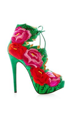 dee693623 designer  Charlotte Olympia details here  Charlotte Olympia Hibiscus  Floral-Embroidered Suede Sandals Multi