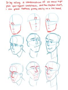 placing features on 3/4 head, 3/4 turn, face, face angles, drawing