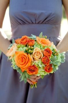 Flowers & Decor, Real Weddings, Wedding Style, orange, Bridesmaid Bouquets, Rustic Real Weddings, Summer Weddings, West Coast Real Weddings,...