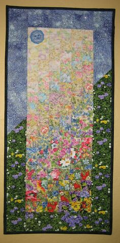 Art Quilt Sunshine Summer Garden Wall Hanging by TahoeQuilts