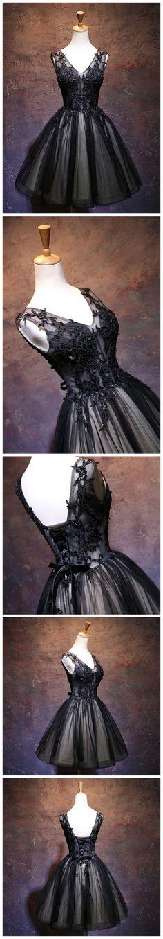 A-LINE CHIC BLACK HOMECOMING DRESS MODEST V-NECK APPLIQUE MODEST CHEAP SHORT PROM DRESS AM118