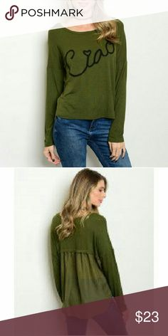 """Forest Green """"CIAO"""" Top Adorable ribbed long sleeve graphic top in forest green.   Fabric: 95% Rayon 5% Spandex. Tops Tees - Long Sleeve"""
