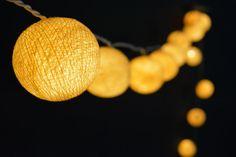35 Lights - Cream Cotton Ball String Lights Fairy Lights Patio Lights Wedding Lights Decoration Lights