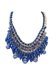 Bohemian water drops beads pretty pendant necklace SX-1222-030