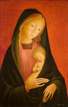 De Moeder van God is vaak het onderwerp van Barths religieuze schilderijen.