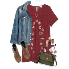 denim contest by sophie-dye on Polyvore featuring love, FiRE, Madewell, H&M, Tory Burch, Kendra Scott, Kate Spade, NYX, Bare Escentuals, NARS Cosmetics and Jergens