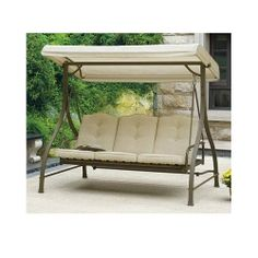 Outdoor Patio Swing w/ Canopy. Adjusts to Hammock Position. Update the Patio Furniture. This Over Sized Porch Swing Seats 3 Comfortably While Sitting in the Shade with the Overhang Awning. This Outdoor Swing Matches Any Patio Table and Chair Sets. Warner,http://www.amazon.com/dp/B00J93M2VY/ref=cm_sw_r_pi_dp_XN4otb0RRGWRMYXP