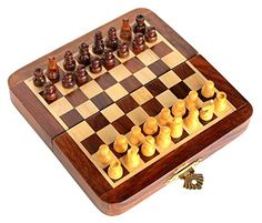 Chess Bazar - Magnetic Travel Pocket Chess Set - Staunton 7 X 7 Inch Folding Game Board Handmade in Fine Rosewood ** More info could be found at the image url.