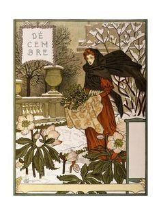 Vintage Illustrations Giclee Print: December, Illustration from the Fine Art Portofolio 'Le Mois', 1896 by Eugene Grasset : -
