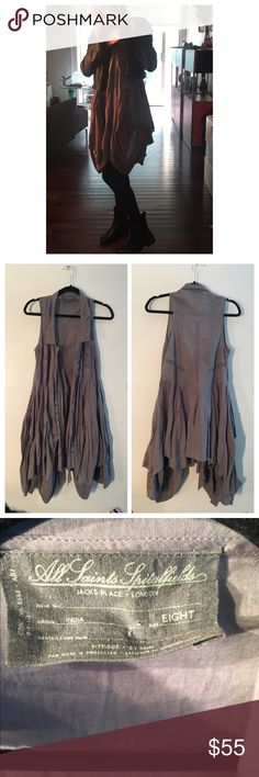 All Saints Echo Petticoat Drape Dress Gorgeous mixed shade of lavender and gray.  Snap up front closure. Front pockets.  Layered Drape fabric with asymmetrical hem.  Sleeveless slightly oversized fit.  Great layer piece.  Cotton.  Like new only worn a few times. All Saints Jackets & Coats Vests