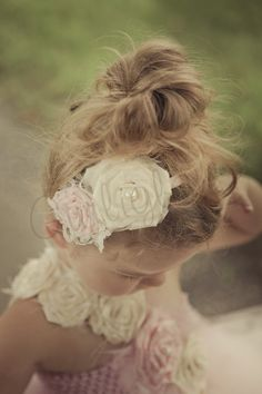 Light Pink and Ivory Flower headband, Vintage, Flower girl headband  for Bella and Madeline!